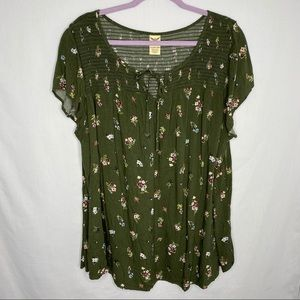 Faded Glory floral blouse 3X